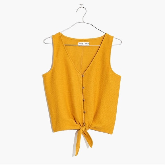 Madewell Tops - Texture and Thread Golden Tie Front Tank Top